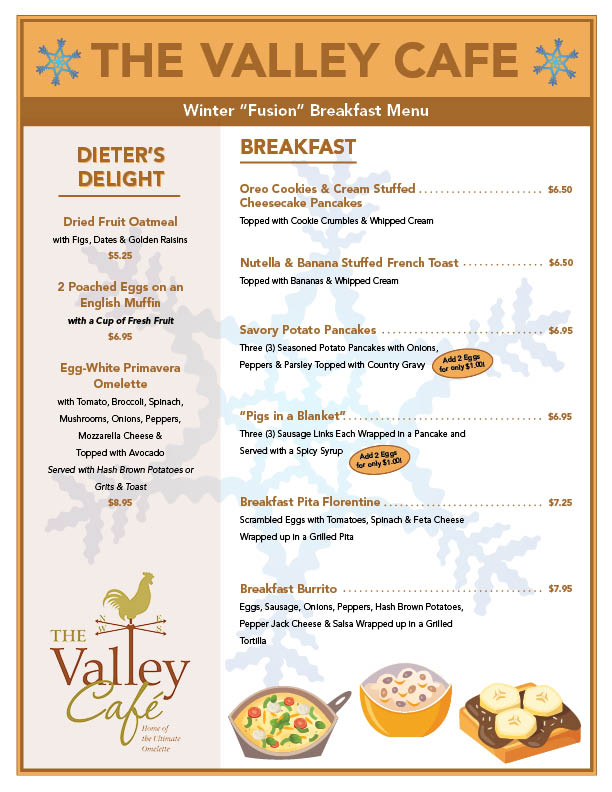 Valley Cafe Pennsburg Menu